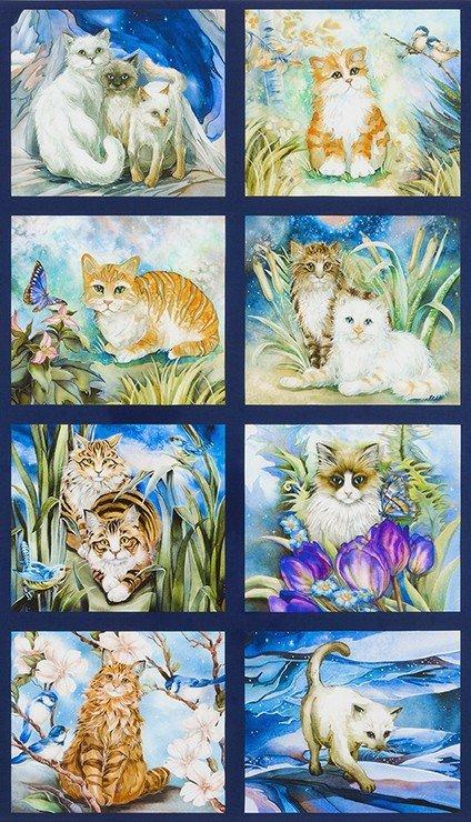Robert Kaufman Be Pawsitive 24 Garden Cat Panel