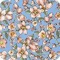 Robert Kaufman Nature's Notebook Peach Floral on Blue
