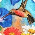 Robert Kaufman VIBRANT GARDEN Flowers w/butterflies and hummingbirds