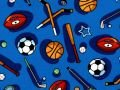 Choice Fabrics Kid's Time Various sporting equipment on blue