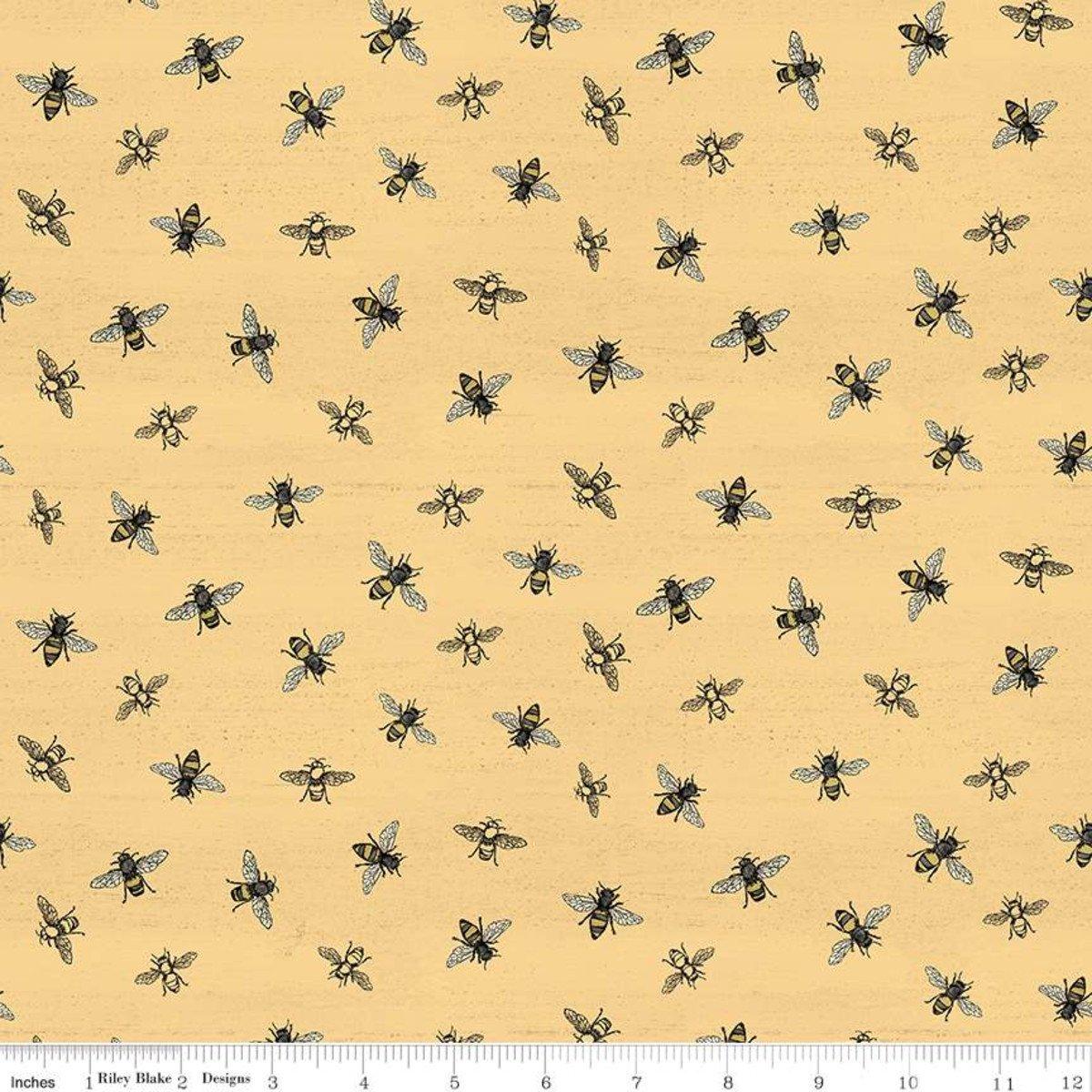 Riley Blake Bee's Life bees on yellow