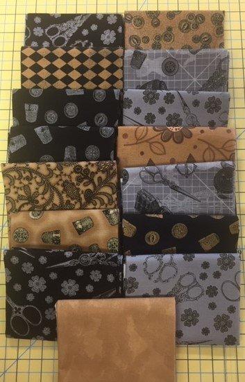 Fat Quarter Bundle (15 Pcs) Black, Gold, grey