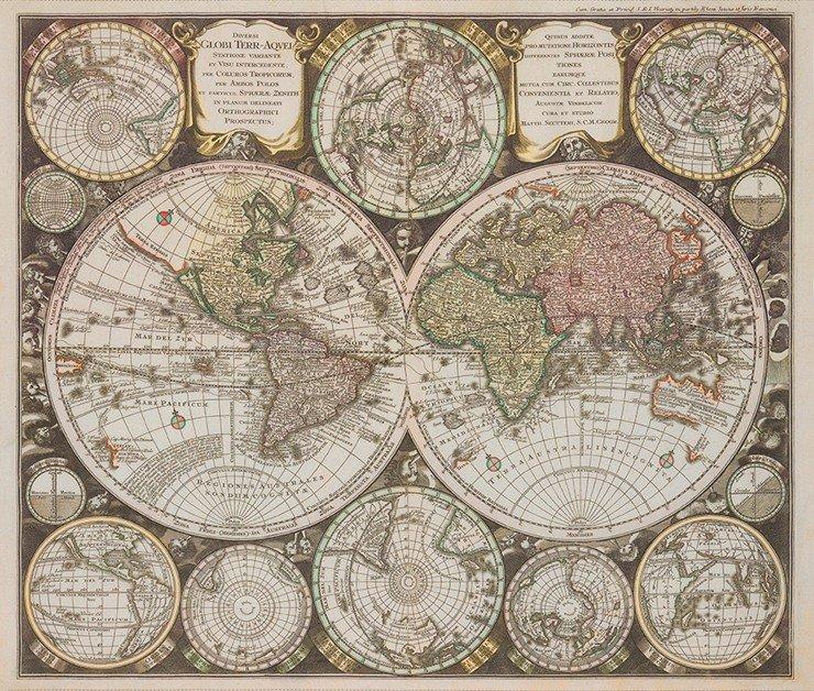 Robert Kaufman Vintage Blueprints Digital 36 Panel PARCHMENT (World Map)