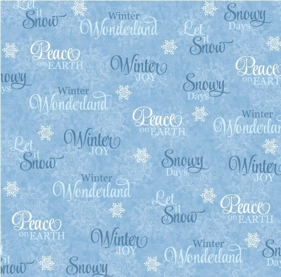 Studio E Winter Joy Words Blue