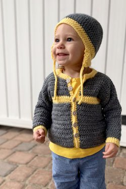 Cottage Baby Cardigan and Hat