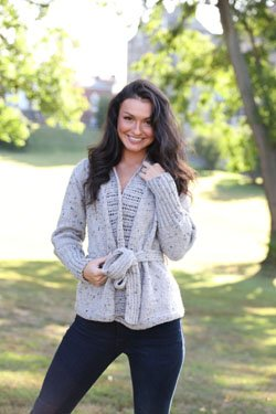 Worsted Tweed Wrap Jacket