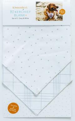 Kimberbell Pet Kerchief/Grey & White