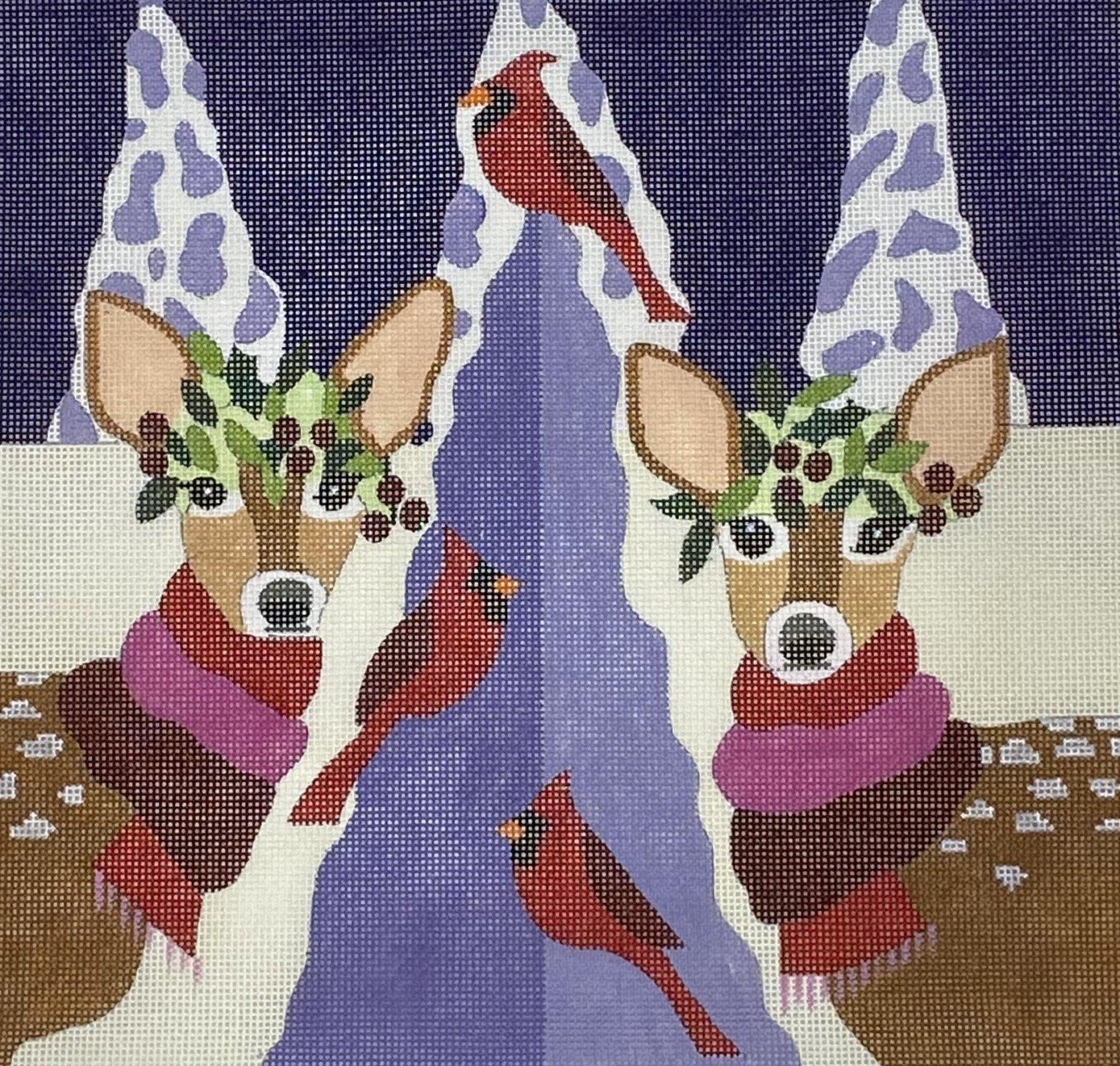 Deer and Cardinals