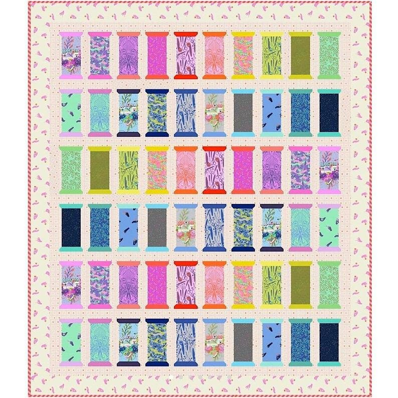Tula Pink HomeMade Spool for Love Quilt Kit, 71 x 82