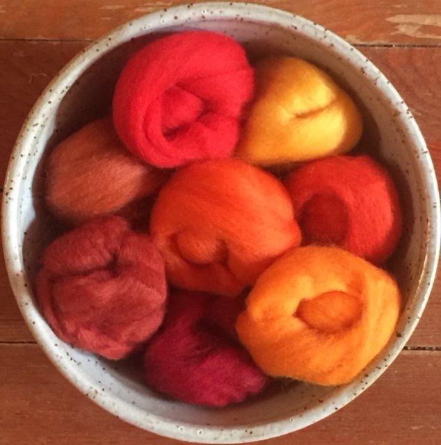 Wistyria Wool Roving - Fire