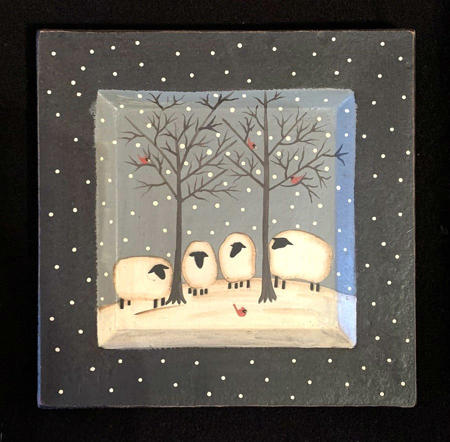 Snow Gathering Plate - Sheep
