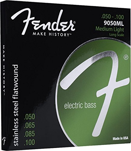 Fender Stainless Steel Flatwound Electric Bass Strings, Set of Four