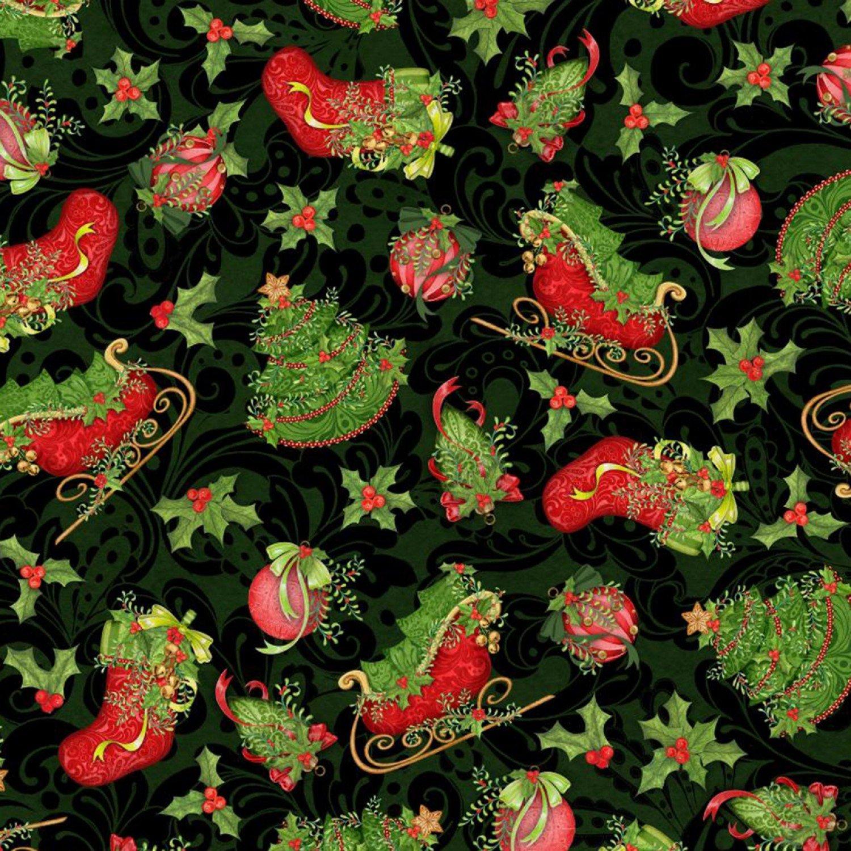 Christmas Holly Vines Black Fabric Yardage 18002