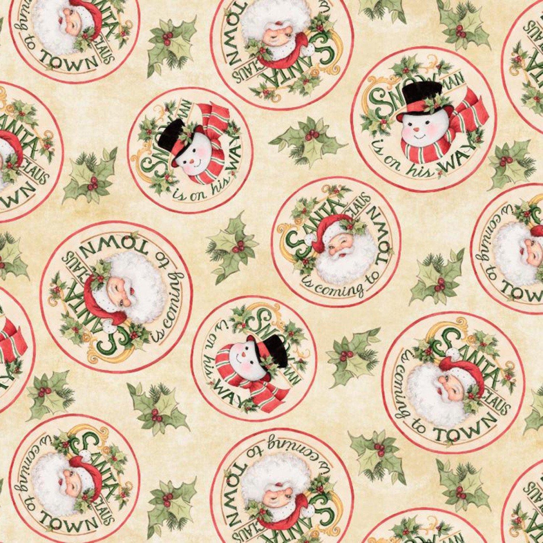 Christmas Retro Santa Snowman Circles Fabric Yardage 18002