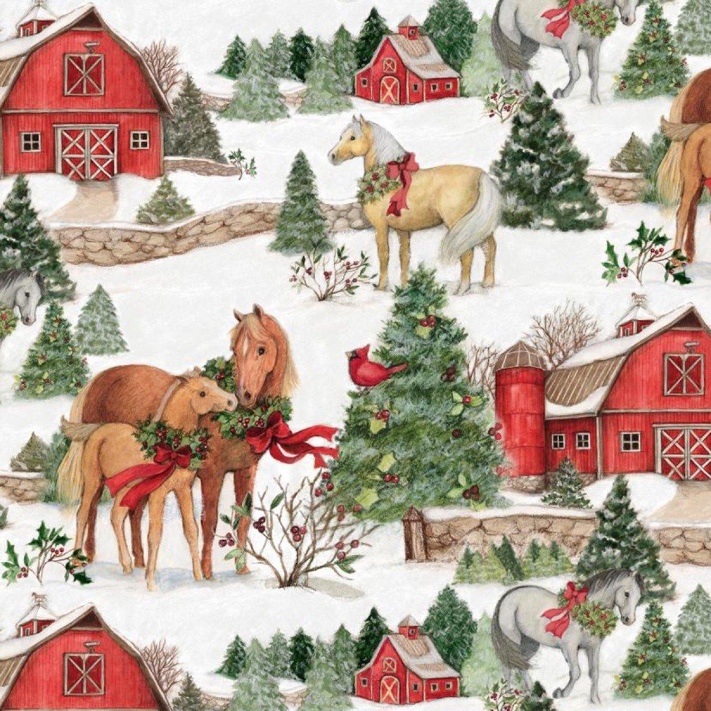 Christmas Two Horses Scenic Fabric Yardage 17348