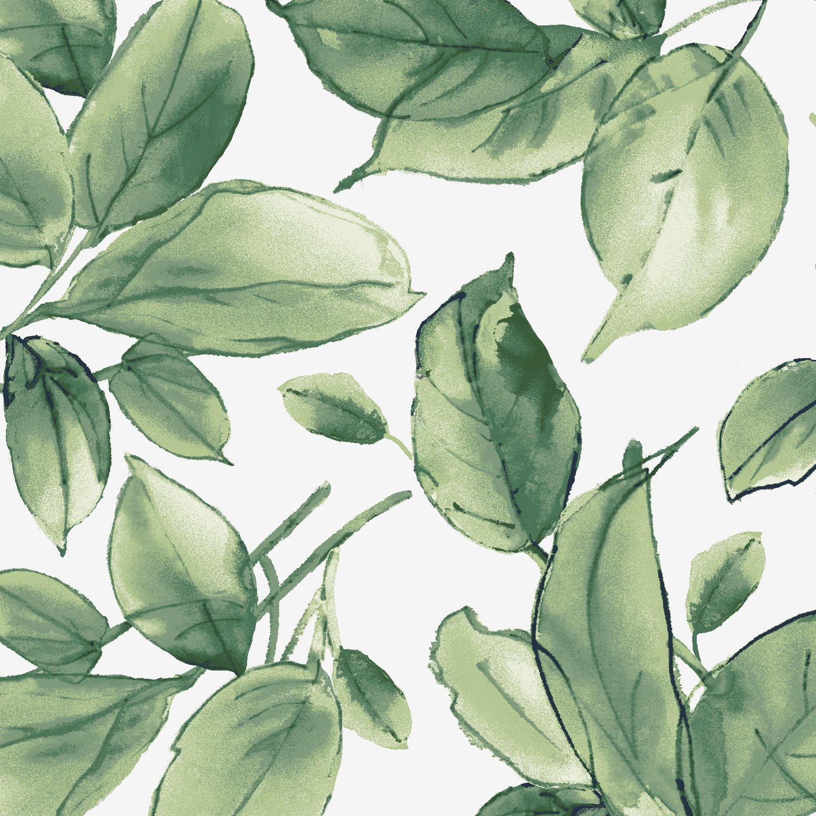 Watercolor Hydrangeas Green Leaves Fabric Yardage MAS9337-G