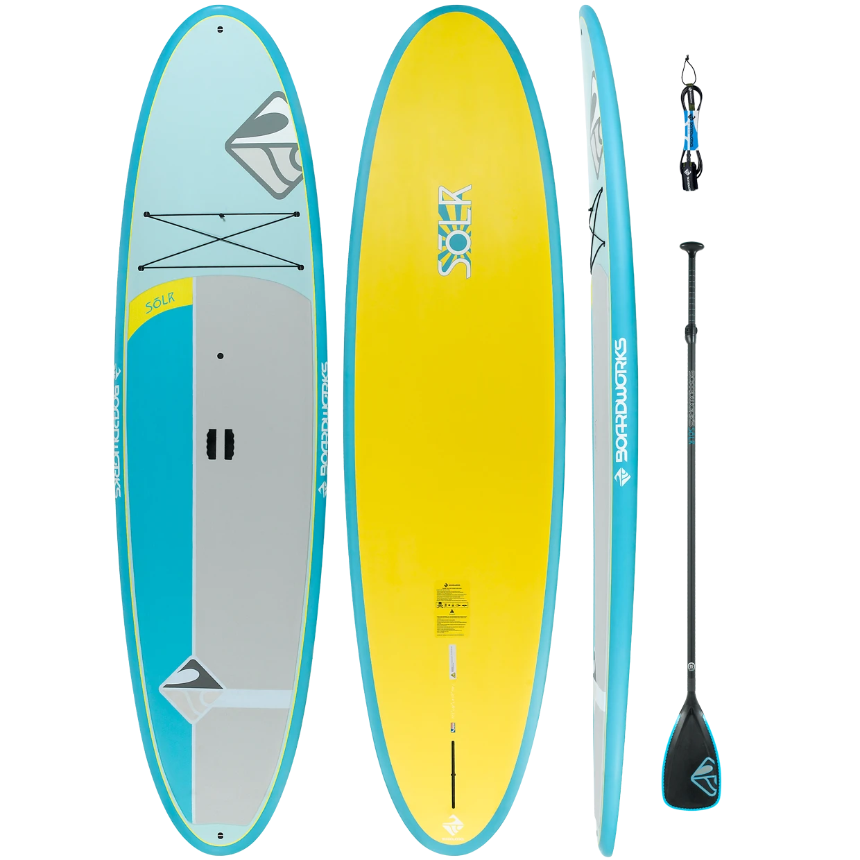 Boardworks - Solr 10'6 - All-around SUP with Paddle & Leash (Aqua/Yellow)