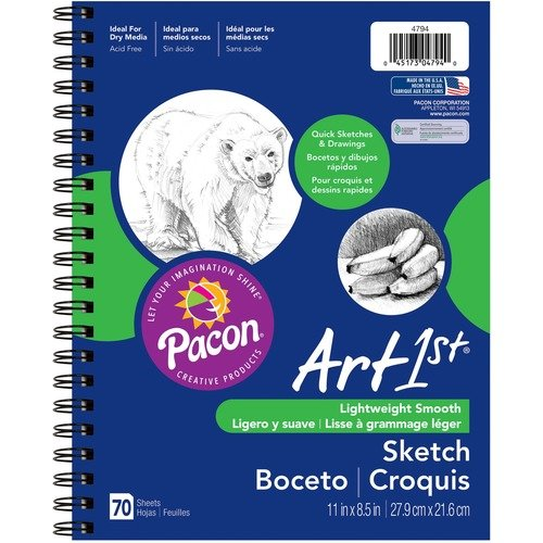 PACON SKETCH DIARY, 70 SHEETS, SPIRAL, 8.5X11