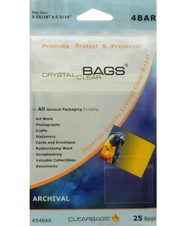 Clear Bags, Crystal Clear, 3.8x5.2, 25 pk