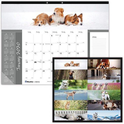 DESK PAD / CALENDAR, DESK, DOGS, 22X17 - 2020 - copy