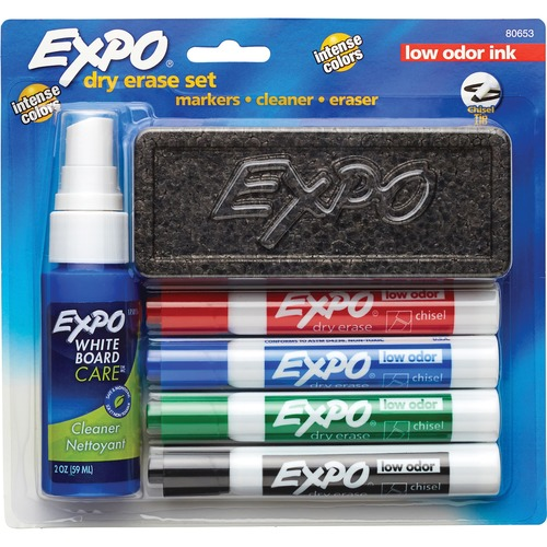 Expo Low-Odor Dry-erase Set - 4 Markers, Eraser, and Cleaner