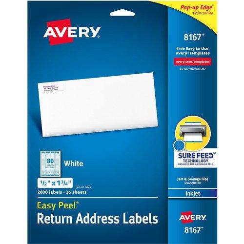Avery® Easy Peel White Inkjet Mailing Labels - 1/2 x 1 3/4 2000pc