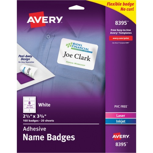 Adhesive Name Badges - 160pc White 2 1/3 x 3 3/8