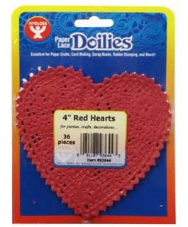 Paper Lace Doilies Heart 4 Red 36p