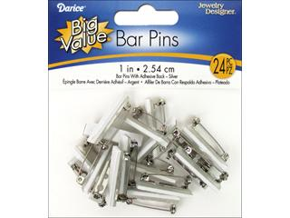 Darice JD Pin Back with Bar 1 Nickel 24pc