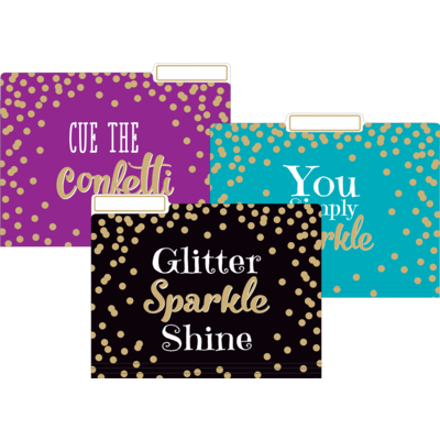Gold Foil Confetti File Folders