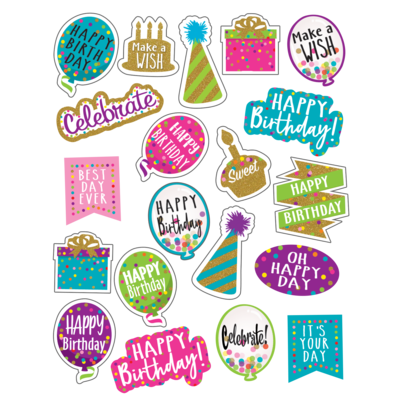 Confetti Happy Birthday Stickers