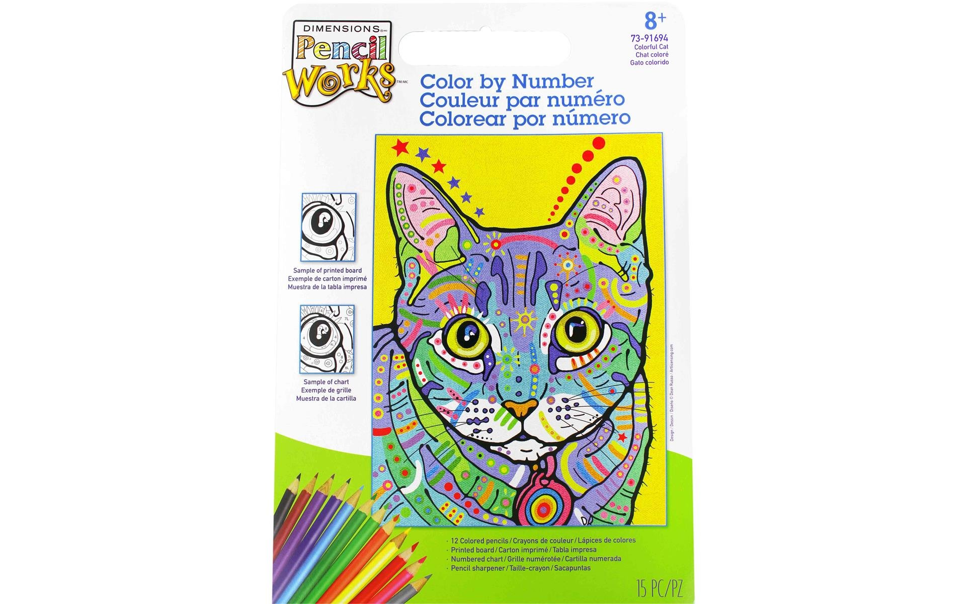 Paint Works Pencil Color By Number Kit 9x12 Colorful Dog