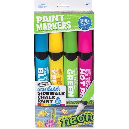 SIDEWALK PAINT MARKERS, NEON, 4 CT