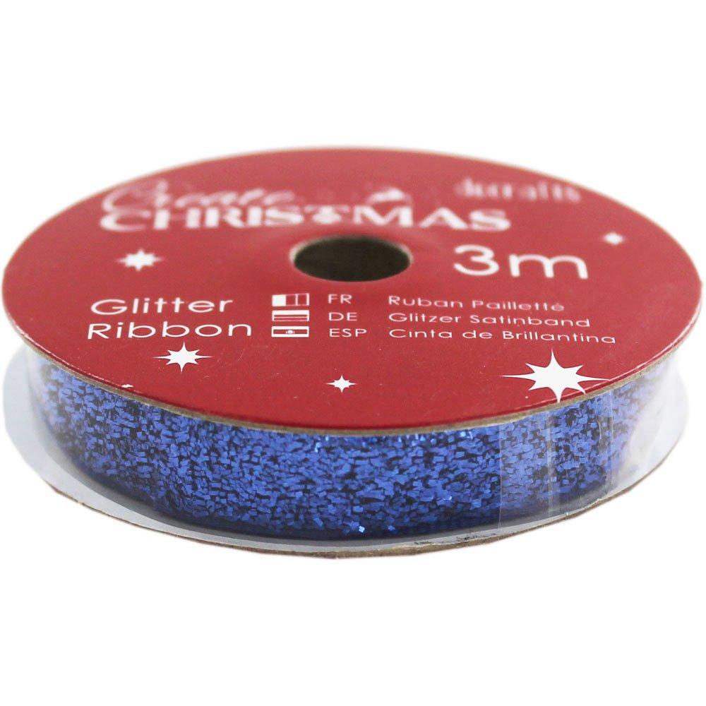 BLUE GLITR-CREATE XMAS RIBBN 3M