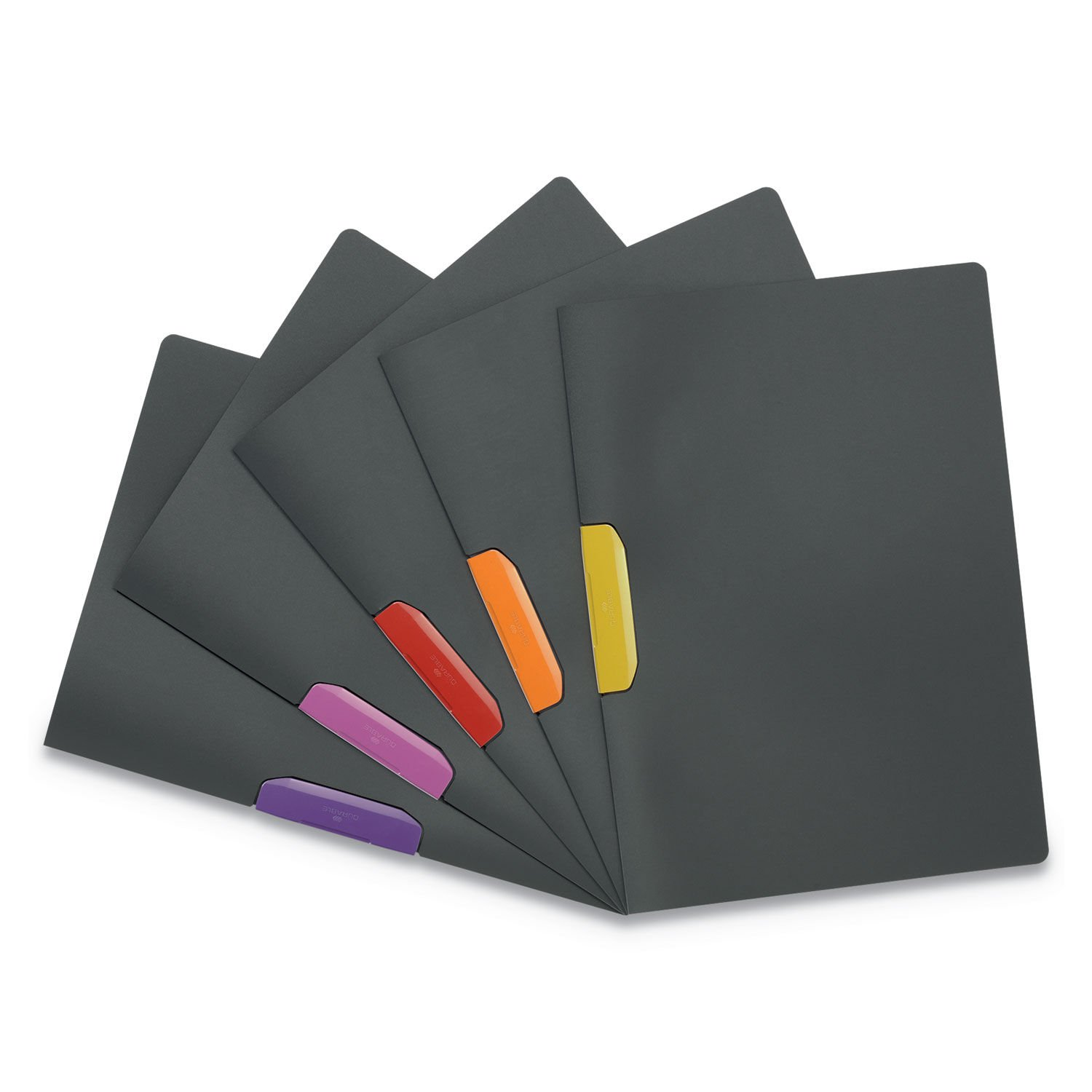 DURASWING Report Cover, Clip, Letter, Charcoal Gray, 5/Pack