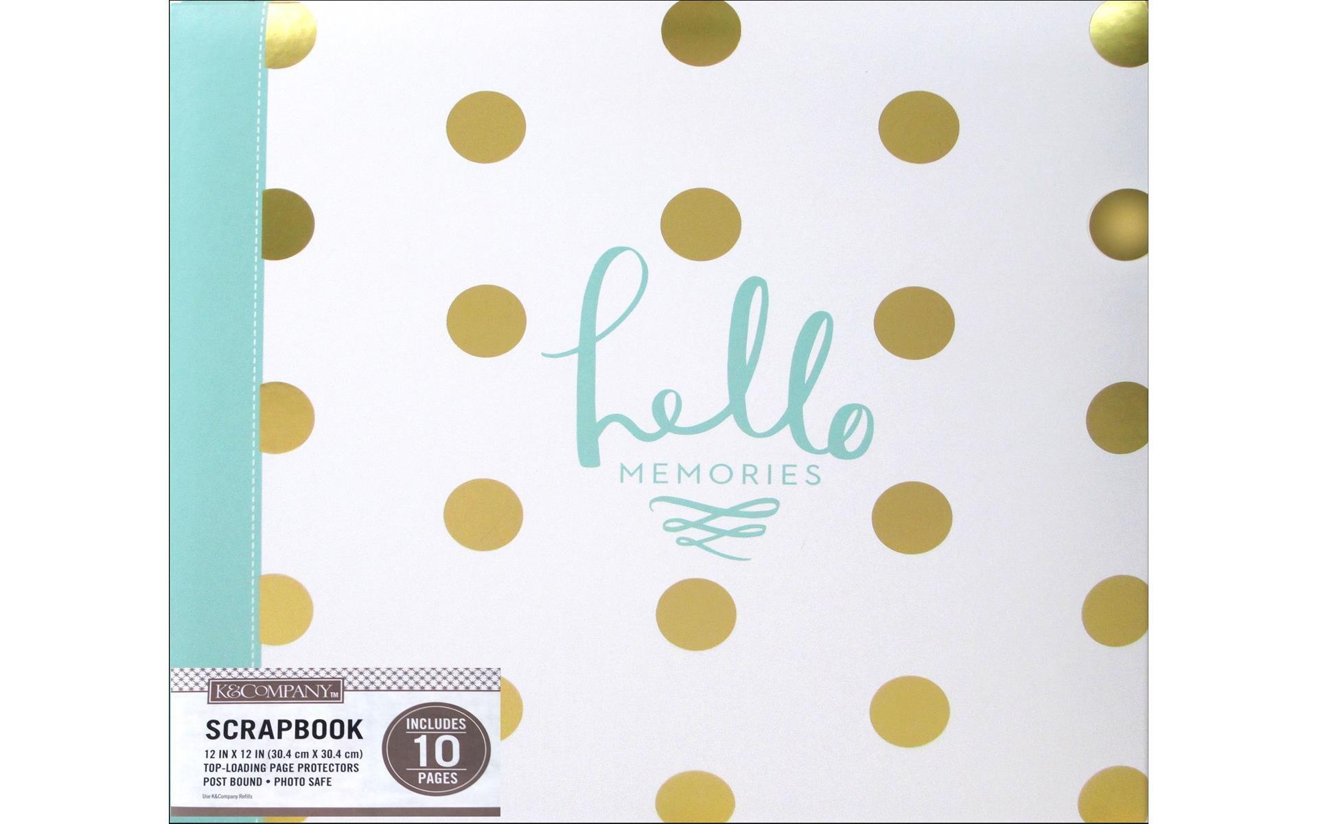 K&Company Scrapbook Album 12x12 Foil Dot Hello Memories