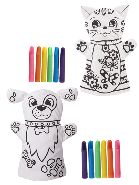 Hand Puppet Coloring Kit - Cat OR Dog