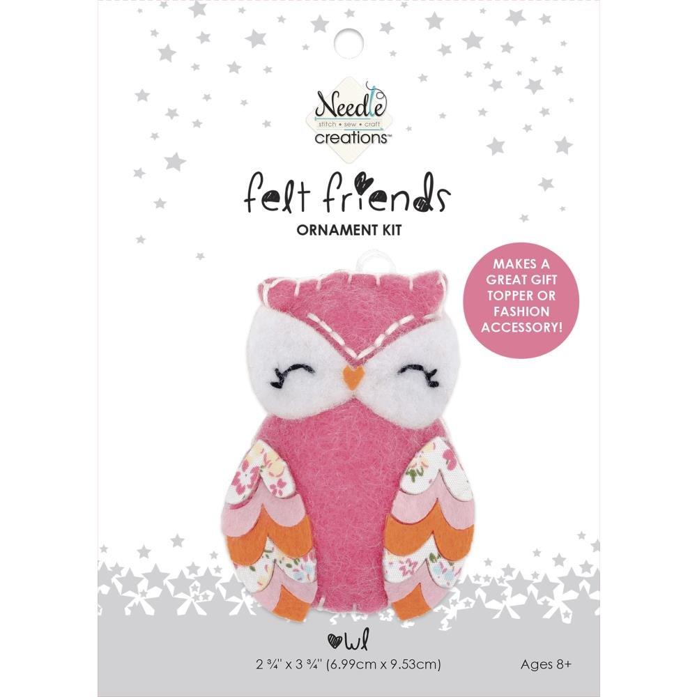 Fabric Editions Needle Creations Felt Ornament Kit -Pink Owl