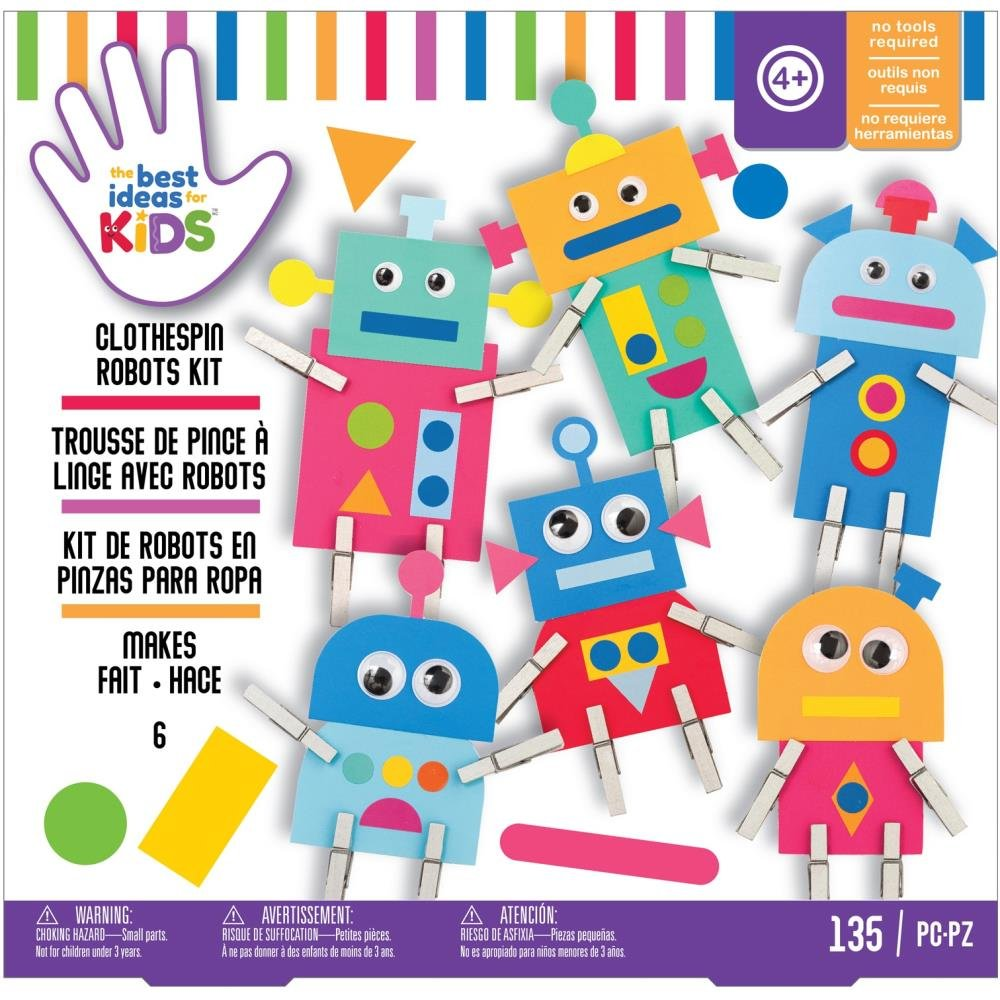 American Crafts Best Ideas For Kids Craft Kit-Clothespin Robots