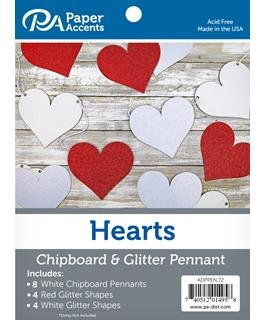 Paper Accents Chipboard Pennants Glitter Hearts 5 White/Red/White 16pc