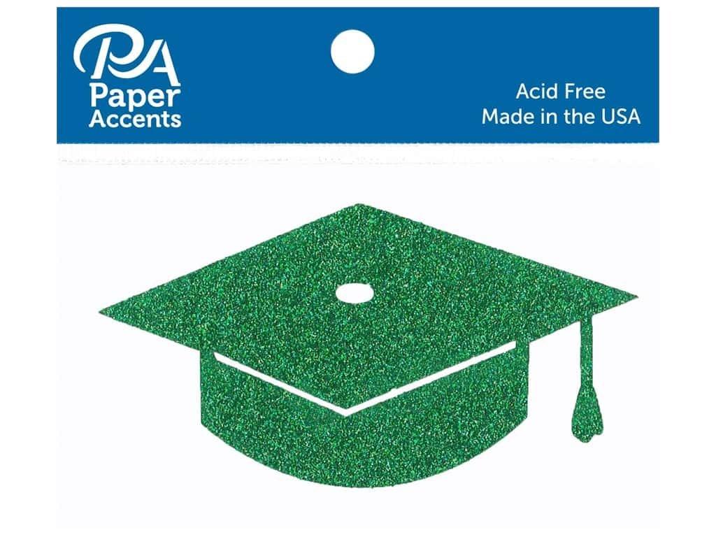 Paper Accents Glitter Shape Graduation Cap Green 6pc