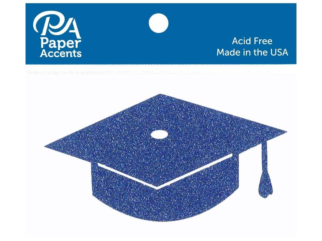 Paper Accents Glitter Shape Graduation Cap Blue 6pc