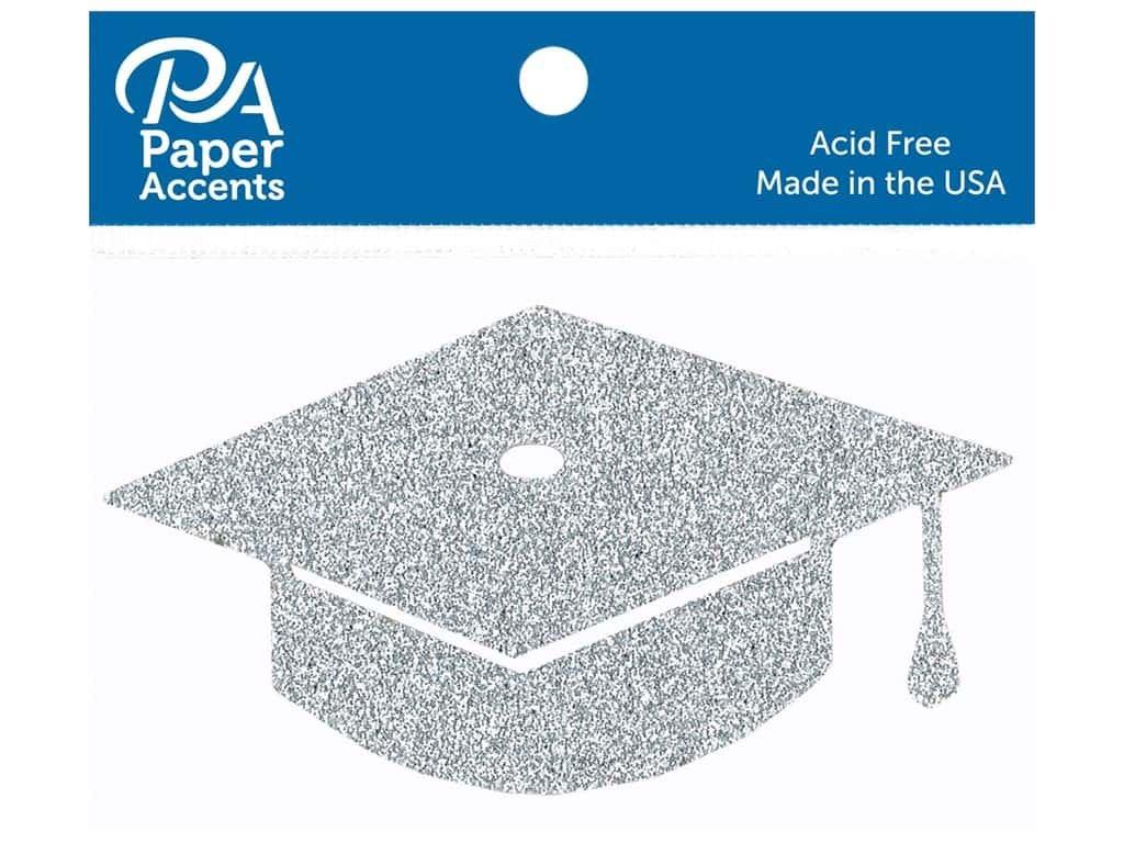 Paper Accents Glitter Shape Graduation Cap Silver 6pc
