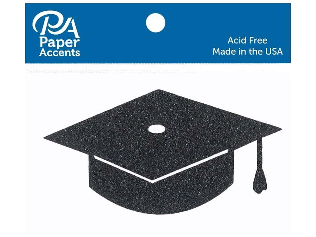 Paper Accents Glitter Shape Graduation Cap Black 6pc