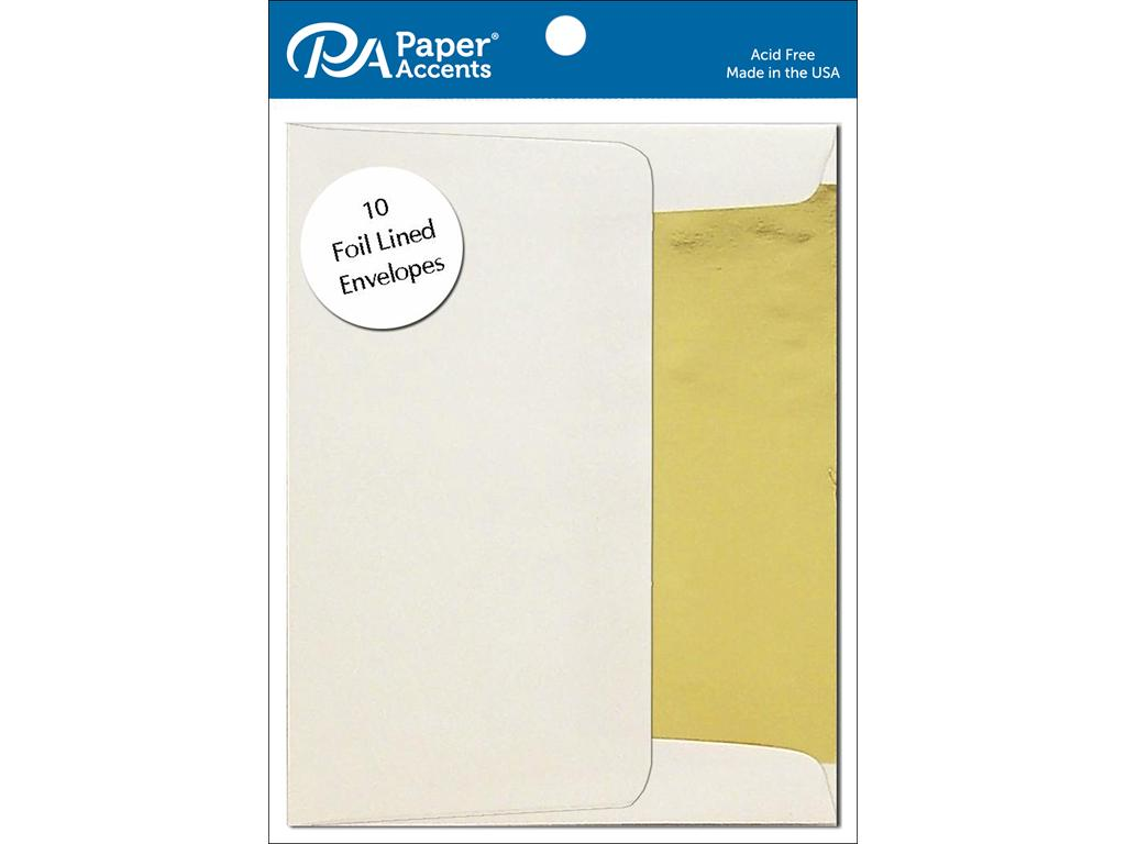AD Paper Envelope 5x7 10pc Gold Lined Cream