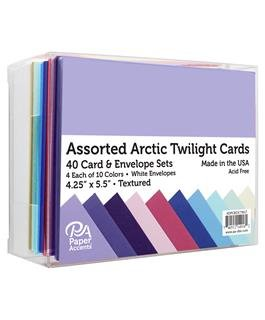 Paper Accents Card & Envelopes 4-1/4x5-1/2 Textured Arctic Twilight Assorted 40pc