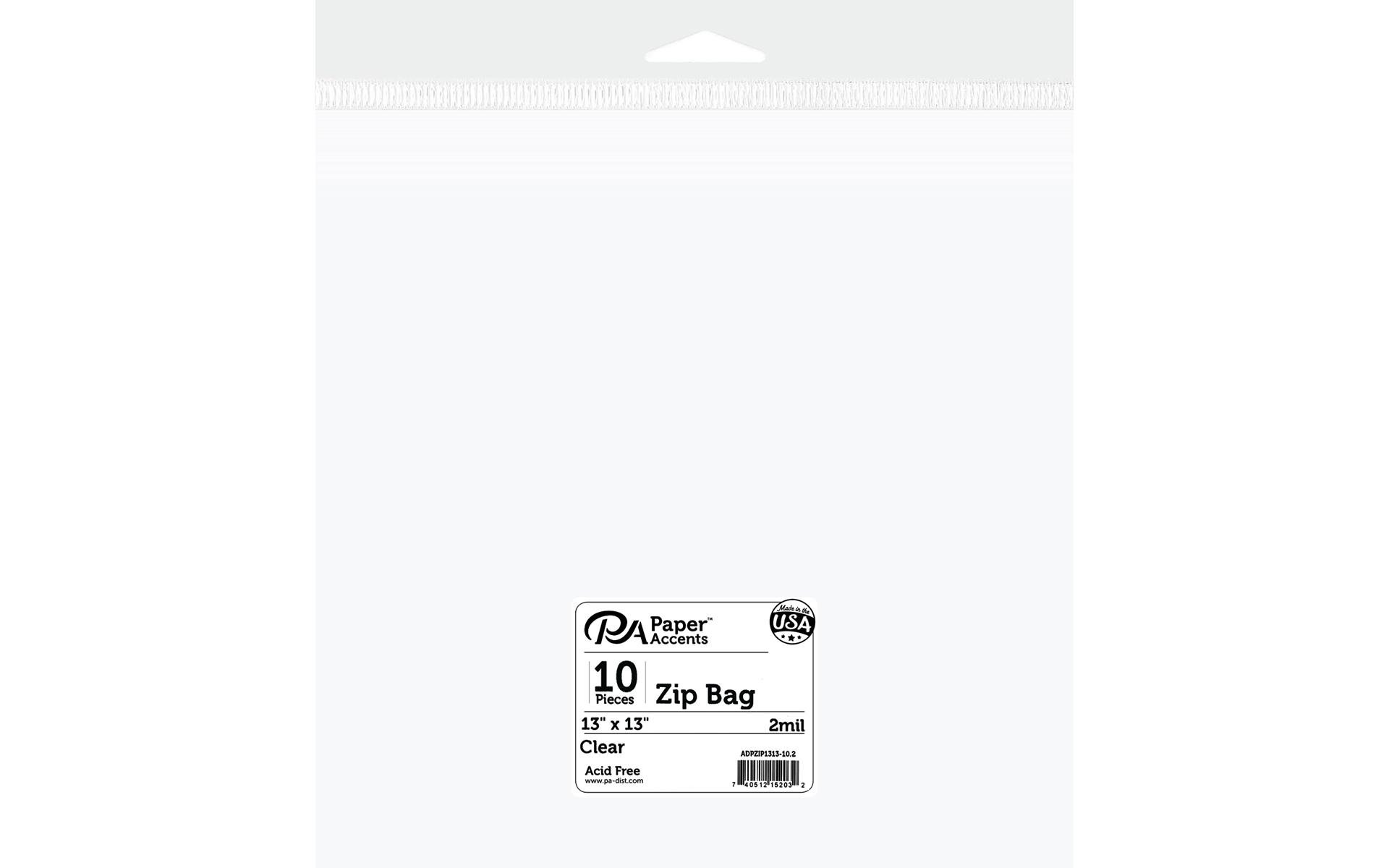 Paper Accents Bag Zip 13x13 10pc 2mil Clear