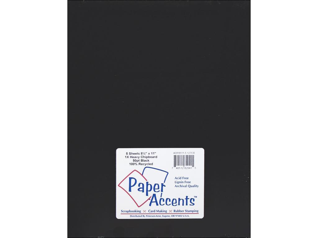 Paper Accents HVY BLACK CHIPBOARD 8.5X11 5 PC