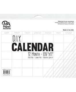 Paper Accents Calendar DIY 12 Month Blank 81⁄2x11 White
