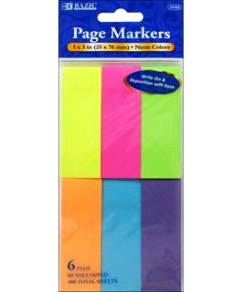 Bazic Page Markers/Sticky Notes - Neon 80pc
